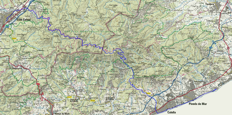 Ruta de Sant Celoni a Santa Susanna MAPA